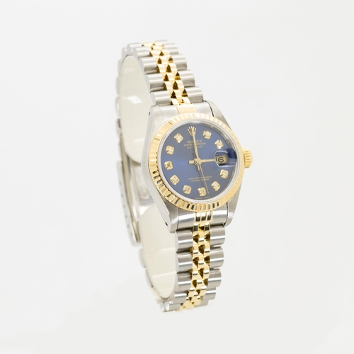 0C - ROLEX LADIES DATE-JUST BLUE DIAMOND DOT DIAL, JUBILEE BRACELET STEEL AND GOLD MODEL NUMBER-69173, SE...