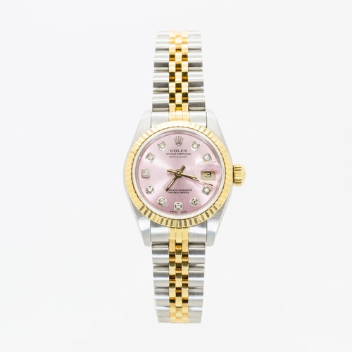 0D - ROLEX LADIES DATE-JUST PINK DIAMOND DOT DIAL, JUBILEE BRACELET STEEL AND GOLD MODEL NUMBER-69173, SE...