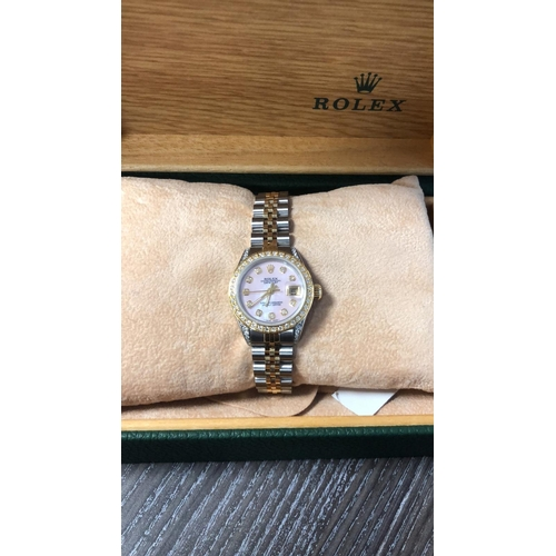 0F - ROLEX LADIES DATE-JUST PINK MOTHER OF PEARL DIAMOND DOT DIAL, DIAMOND BEZEL, DIAMOND LUGS, JUBILEE B...