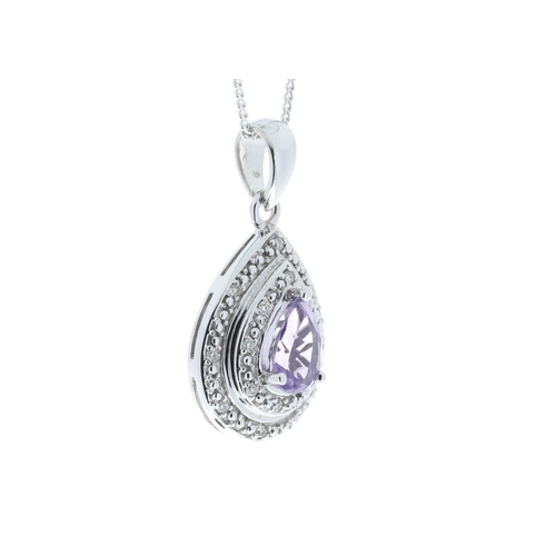 103 - Valued by GIE £1,440.00 - 9ct White Gold Amethyst Pear Shaped Cluster Diamond Pendant 0.08 Carats, C...