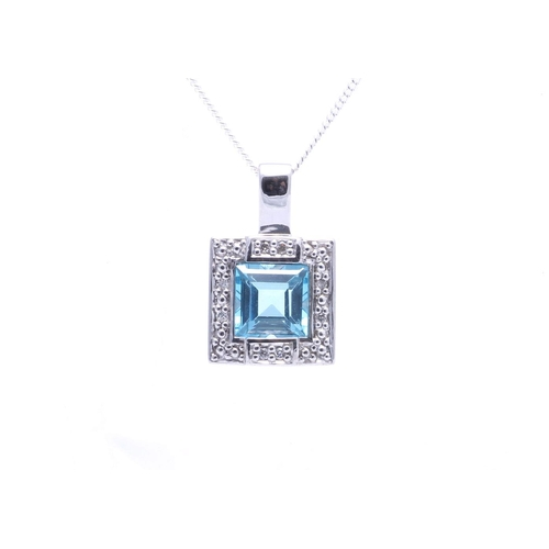 106 - Valued by GIE £1,040.00 - 9ct White Gold Blue Topaz Diamond Cluster Pendant 0.04 Carats, Colour-D, C...