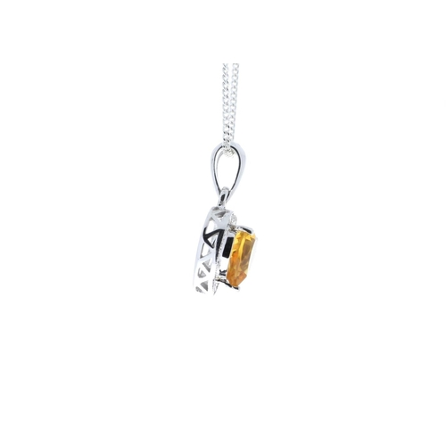 108 - Valued by GIE £1,020.00 - 9ct White Gold Citrine Heart Shape Diamond Pendant 0.10 Carats, Colour-D, ...