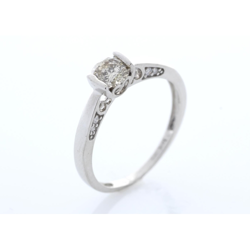 17 - Valued by GIE £7,356.00 - 18ct White Gold Single Stone Prong Set With Stone Set Shoulders Diamond Ri...