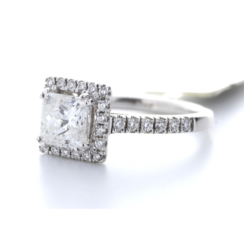 20 - Valued by GIE £30,500.00 - 18ct White Gold Single Stone With Halo Setting Ring 1.69 Carats, Colour-D...