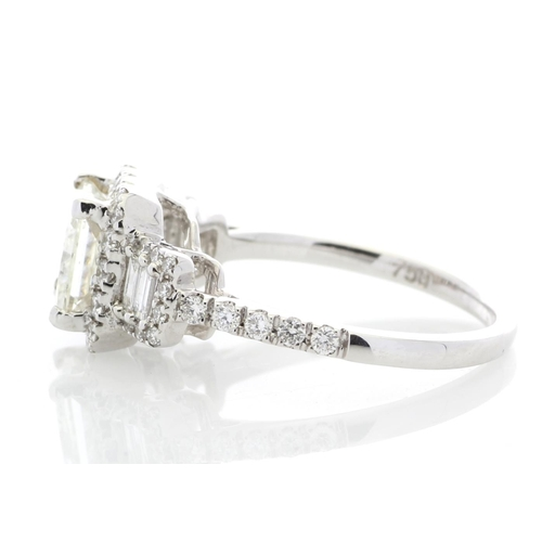 23 - Valued by GIE £49,500.00 - 18ct White Gold Single Stone Princess Cut With Stone Set Shoulders Diamon...