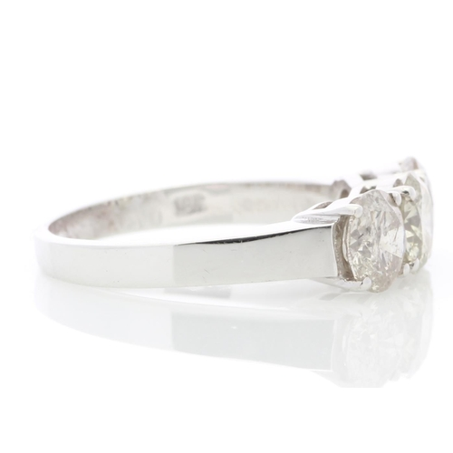 25 - Valued by GIE £24,950.00 - 18ct White Gold Three Stone Claw Set Diamond Ring 2.21 Carats, Colour-H, ...