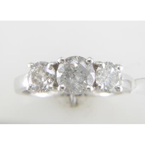 26 - Valued by GIE £20,359.00 - 18ct White Gold Three Stone Claw Set Diamond Ring 2.00 Carats, Colour-F -...