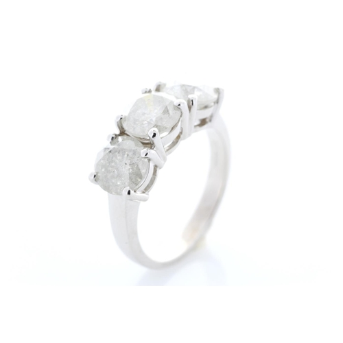 27 - Valued by GIE £49,654.00 - 18ct White Gold Three Stone Claw Set Diamond Ring 3.72 Carats, Colour-D, ...