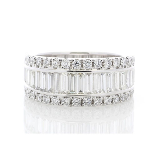28 - Valued by GIE £25,999.00 - 18ct White Gold Channel Set Semi Eternity Diamond Ring 2.12 Carats, Colou...