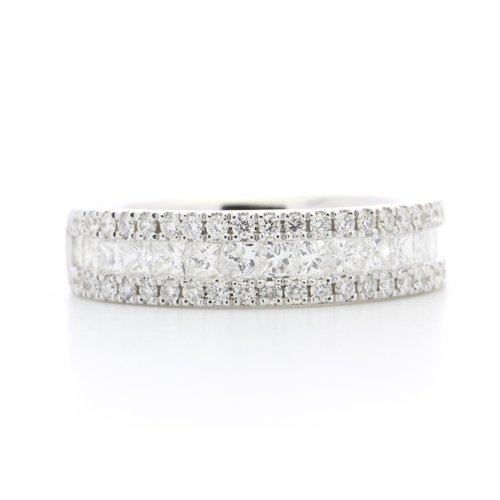 29 - Valued by GIE £9,997.00 - 18ct White Gold Channel Set Semi Eternity Diamond Ring 1.00 Carats, Colour...