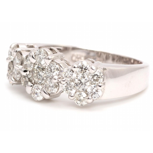 31 - Valued by GIE £12,700.00 - 18ct White Gold  Flower Cluster Diamond Ring 1.50 Carats, Colour-D, Clari...