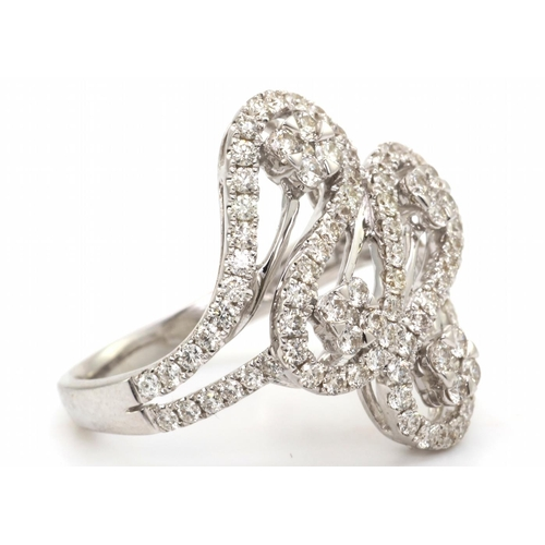 32 - Valued by GIE £13,950.00 - 18ct White Gold Fancy Cluster Diamond Ring 1.15 Carats, Colour-D, Clarity...