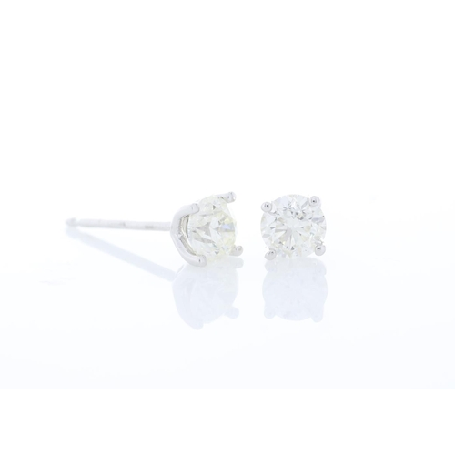35 - Valued by GIE £9,180.00 - 18ct White Gold Single Stone Claw Set Diamond Earring 1.01 Carats, Colour-...