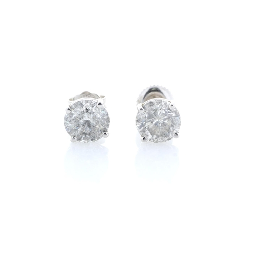 36 - Valued by GIE £61,585.00 - 18ct White Gold Single Stone Claw Set Diamond Earring 3.30 Carats, Colour...