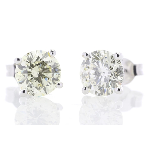 37 - Valued by GIE £107,588.00 - 18ct White Gold Single Stone Prong Set Diamond Earring 4.22 Carats, Colo...