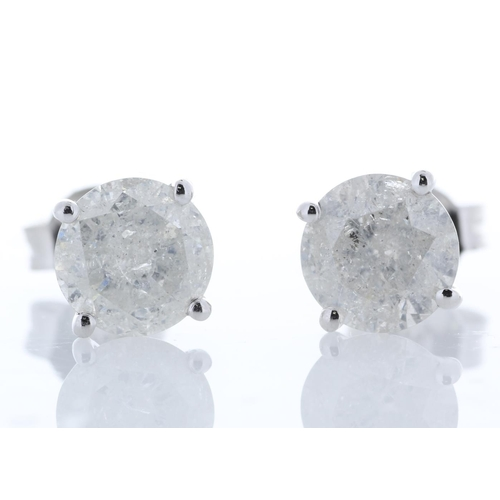 39 - Valued by GIE £27,652.00 - 18ct White Gold Single Stone Prong Set Diamond Earring 2.67 Carats, Colou...
