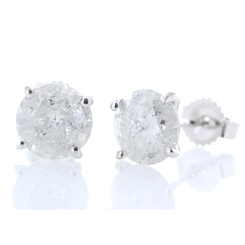 40 - Valued by GIE £9,615.00 - 18ct White Gold Single Stone Prong Set Diamond Earring 2.36 Carats, Colour...