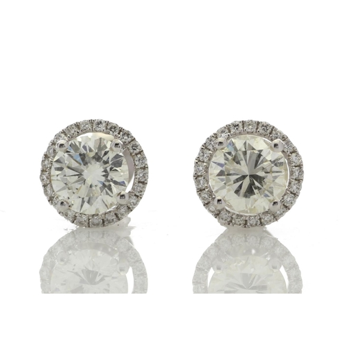 43 - Valued by GIE £49,750.00 - 18ct White Gold Single Stone Halo Set Earrings (2.03) 2.26 Carats, Colour...