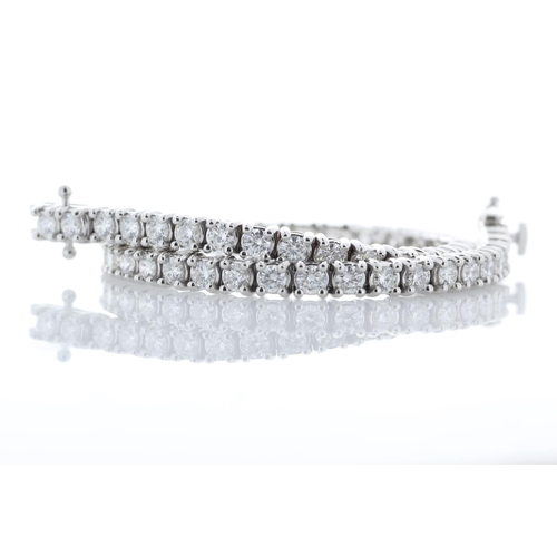 46 - Valued by GIE £29,750.00 - 18ct White Gold Tennis Diamond Bracelet 3.87 Carats, Colour-D, Clarity-VS...