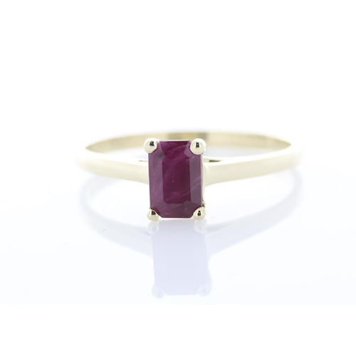 52 - Valued by AGI £1,905.00 - 9ct Yellow Gold Single Stone Emerald Cut Ruby Ring 0.60 Carats, Colour-Red...