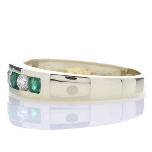 53 - Valued by GIE £2,635.00 - 9ct Yellow Gold Channel Set Semi Eternity Diamond And Emerald Ring 0.25 Ca...
