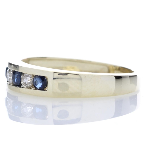 54 - Valued by GIE £2,635.00 - 9ct Yellow Gold Channel Set Semi Eternity Diamond Ring 0.25 (Sapphire) Car...