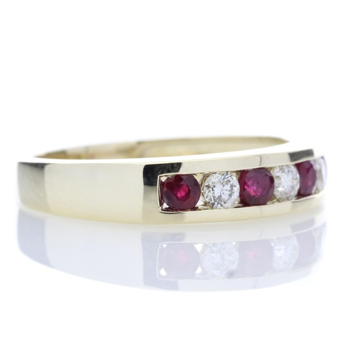 55 - Valued by GIE £2,635.00 - 9ct Yellow Gold Channel Set Semi Eternity Diamond Ring 0.25 (Ruby) Carats,...