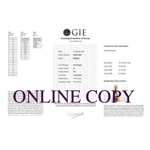 58 - Valued by GIE £2,220.00 - 9ct Two Stone Claw Set Diamond Pendant 0.33 Carats, Colour-D, Clarity-VS, ...