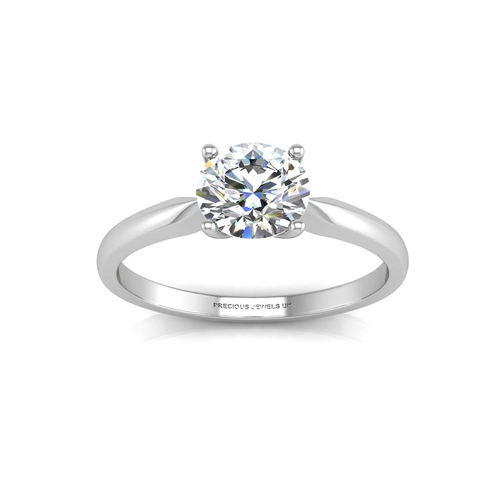 6 - Valued by AGI £11,365.16 - 18ct White Gold Single Stone Diamond Enagagement Ring D IF 0.50 Carats, C...