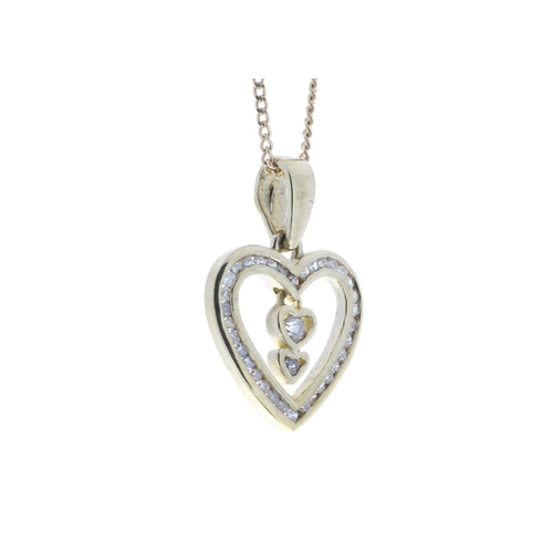 60 - Valued by GIE £1,740.00 - 9ct Yellow Gold Heart Pendant  Set With Diamonds & 2 Hanging Inner Hearts ...