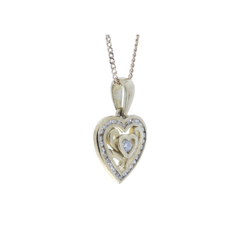 61 - Valued by GIE £1,740.00 - 9ct Yellow Gold Heart Pendant Set With Diamonds With Centre Heart and Swir...