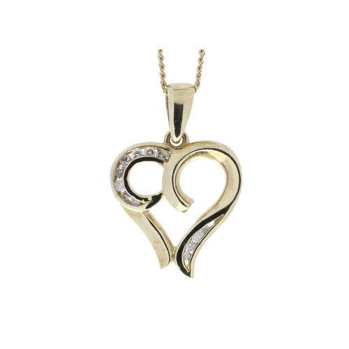 63 - Valued by GIE £1,520.00 - 9ct Yellow Gold Heart Pendant with Diamonds in Top & Bottom Cormer Swirls ...