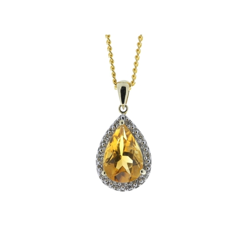 64 - Valued by GIE £1,530.00 - 9ct Yellow Gold Citrine Diamond Cluster Pendant 0.08 Carats, Colour-D, Cla...