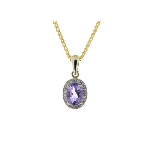 65 - Valued by GIE £1,190.00 - 9ct Yellow Gold Amethyst And Diamond Pendant 0.11 Carats, Colour-D, Clarit...