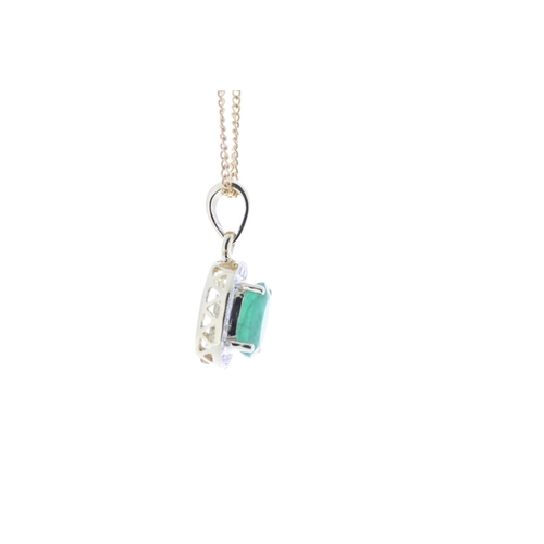 67 - Valued by GIE £1,890.00 - 9ct Yellow Gold Diamond And Emerald Pendant 0.11 Carats, Colour-D, Clarity...