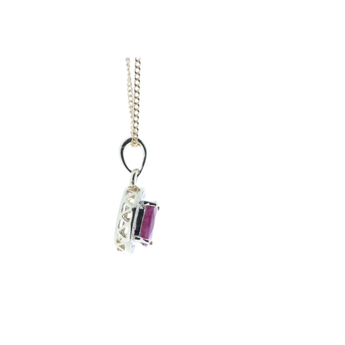 71 - Valued by GIE £1,997.00 - 9ct Yellow Gold Diamond And Ruby Pendant 0.11 Carats, Colour-D, Clarity-VS...