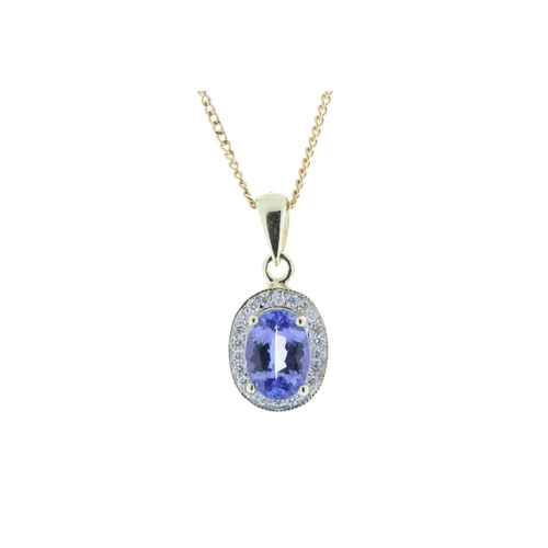 72 - Valued by GIE £1,839.00 - 9ct Yellow Gold Diamond And Tanzanite Pendant 0.11 Carats, Colour-D, Clari...
