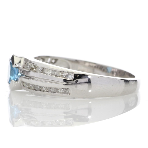 74 - Valued by GIE £940.00 - 9ct White Gold Double Channel Set Diamond and Blue Topaz Ring 0.36 Carats, C...