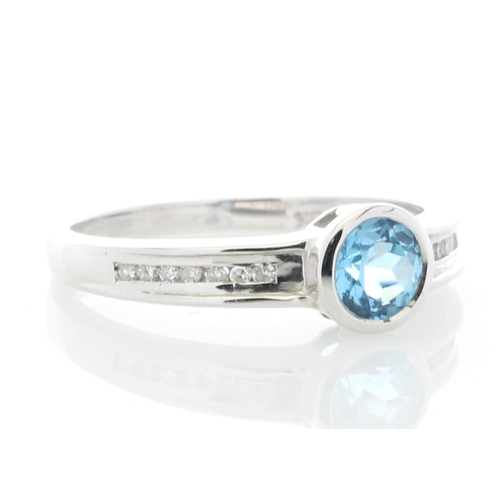 75 - Valued by GIE £1,275.00 - 9ct White Gold Channel Set Semi Eternity Diamond Blue Topaz Ring 0.10 Cara...