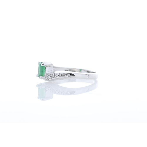 78 - Valued by GIE £1,697.00 - 9ct White Gold Diamond And Emerald Ring 0.01 Carats, Colour-D, Clarity-VS,...