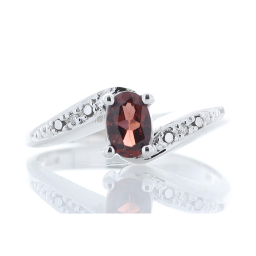 79 - Valued by GIE £1,165.00 - 9ct White Gold Diamond And Garnet Ring 0.01 Carats, Colour-D, Clarity-VS, ...