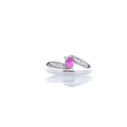 81 - Valued by GIE £1,665.00 - 9ct White Gold Diamond And Ruby Ring 0.01 Carats, Colour-D, Clarity-VS, Ce...