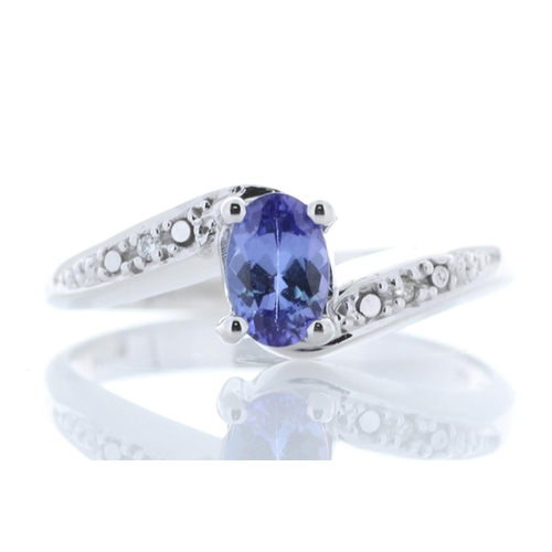 82 - Valued by GIE £1,670.00 - 9ct White Gold Diamond And Tanzanite Ring 0.01 Carats, Colour-D, Clarity-V...