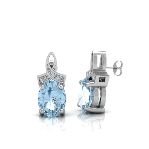 86 - Valued by GIE £1,140.00 - 9ct White Gold Diamond And Blue Topaz Earring 0.03 Carats, Colour-D, Clari...