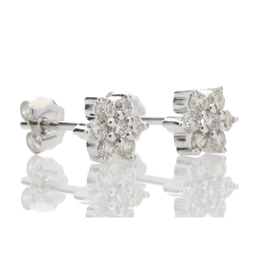 88 - Valued by GIE £3,800.00 - 9ct White Gold  Diamond Flower Earring 0.45 Carats, Colour-D, Clarity-VS, ...