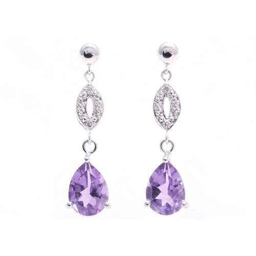 89 - Valued by GIE £1,140.00 - 9ct White Gold Amethyst Diamond Earring 0.03 Carats, Colour-D, Clarity-VS,...