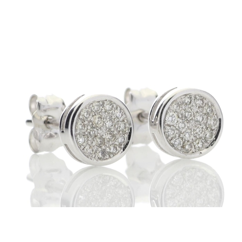 90 - Valued by GIE £1,805.00 - 9ct White Gold Diamond Cluster Earring 0.16 Carats, Colour-D, Clarity-VS, ...