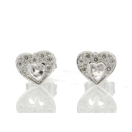 91 - Valued by GIE £950.00 - 9ct White Gold Fancy Cluster Diamond Earring 0.11ct Carats, Colour-D, Clarit...