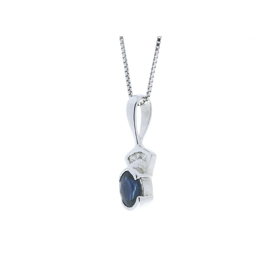 97 - Valued by GIE £895.00 - 9ct White Gold Fancy Cluster Diamond Sapphire Pendant 0.02 Carats, Colour-G,...