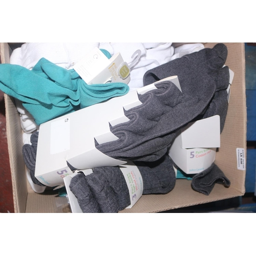 36 - BOX TO CONTAIN A LARGE AMOUNT OF ASSORTED PAIRS OF SOCKS (04.10.18)...